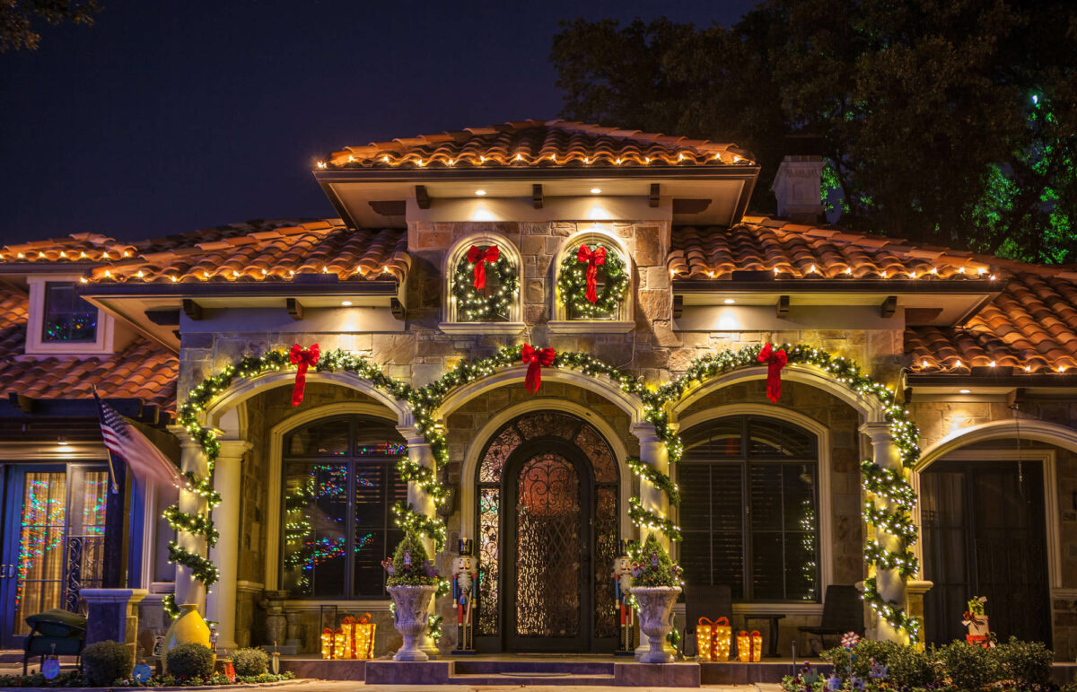 home christmas lights with garlands and decor by The Perfect Light